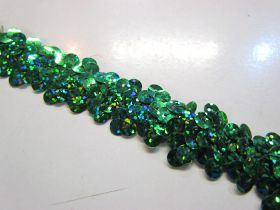 Holographic- Stretch Sequin Trim- 2 Row- Green