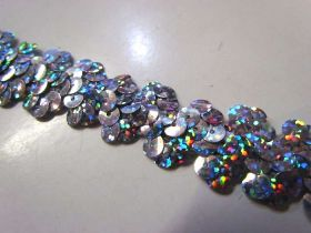 Holographic- Stretch Sequin Trim- 2 Row- Silver