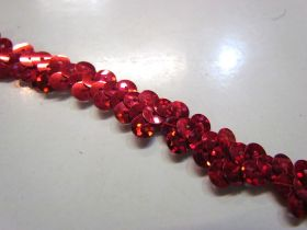 Holographic- Stretch Sequin Trim- 1 Row- Red