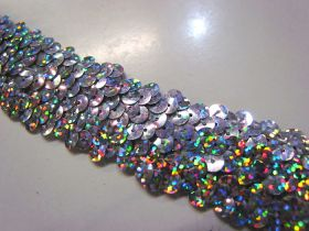 Holographic- Stretch Sequin Trim- 3 Row- Silver