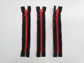 18cm Chunky Zipper Bundle- Red / Black- 3 for $6