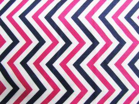 Chevron Stripe Cotton- Pink / Navy #PW1020