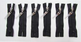 Zip Bundle- BLACK- Luxe Lucite Zipper Pull- 10cm Closed End Zips- 6 for $5