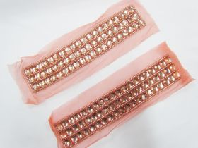 Rhinestone Soft Mesh Motif- Peach Pink- 2 for $5