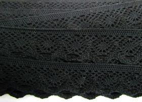 37mm Cotton Lace Trim- Noir Black #481
