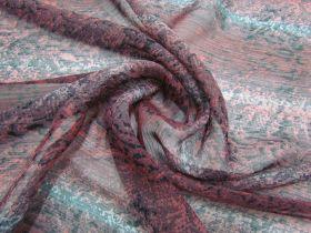 Snake Print Yoryu Chiffon- Burgundy #2863