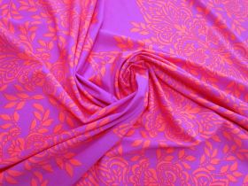Island Rose Spandex Panel- Pink #4859