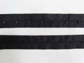 28mm Cotton Continuous Hook & Eye Tape- Black on Black