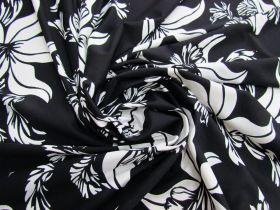 Blissful Blossom Lightweight Spandex- Black #4893