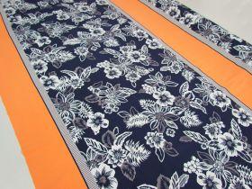 1.5m Panel- Island Floral Spandex- Navy / Orange #4898