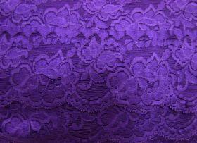 85mm Giselle Stretch Floral Lace Trim- Purple #259