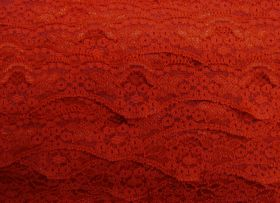40mm Wave Edge Stretch Floral Lace Trim- Red #277