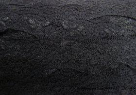 40mm Wave Edge Stretch Floral Lace Trim- Black #272