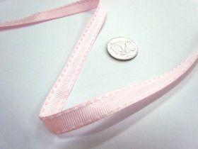 Stitch Ribbon 10mm- Baby Pink / White