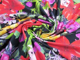 Luscious Tropical Paradise Spandex- Black #2959