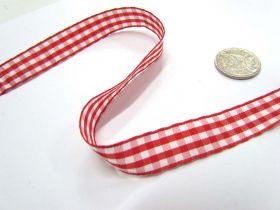 Gingham Ribbon 15mm- Red