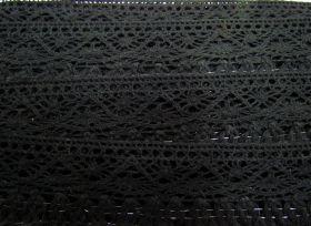 55mm Naomi Fringe Cotton Lace Trim- Black #308