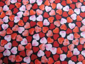 Confetti Hearts Cotton- Black #PW1272