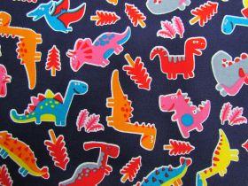 Dinosaur Dance Cotton- Navy #PW1244