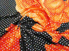 Budget Holographic Sequin Jersey- Floral Orange- Reduced from $9.95m