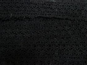 60mm Maria Floral Rayon Lace Trim- Black #334
