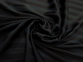 Subtle Stripe Satin Chiffon- Black #3136