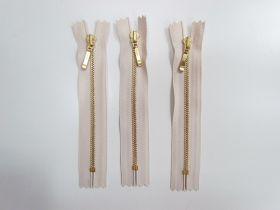 13cm Gold Metal Zipper Bundle- Beige Cream- 3 for $5