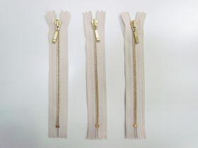18cm Gold Metal Zipper Bundle- Beige Cream- 3 for $5