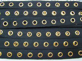 Cotton Eyelet Tape - Gold on Black #3448
