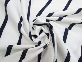 Stripe Cotton Blend Knit- Navy On White #5200