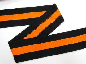 80mm Thick Rib Trim- Black & Orange #3503