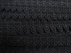 20mm Gothic Rose Scallop Lace Trim- Black #390