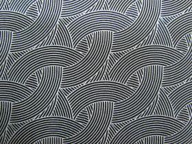 Morning Frost Cotton- Waves White on Black DV2145