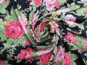 Lustrous Lush Floral Spandex- Black #5327
