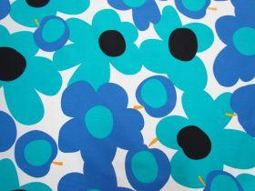Tutti Frutti Flower Cotton- Blue/White #5362