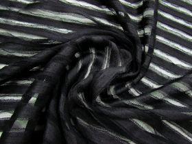 Ribbon Ruffle Stripe Tulle- Black #1665