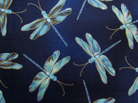 Moonlight Serenade Cotton- Moonlit Dragonflies- Indigo