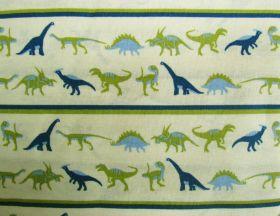 Dinosaur Adventures Cotton- Stripes Blue/Green