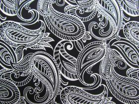 Night & Day Cotton- Paisley Black/White #290
