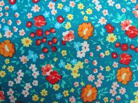 Flower Festival Cotton- Teal PW1313