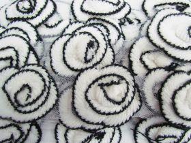 Knitted Rosette Trim- Black / Cream #532