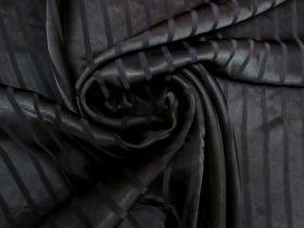 Satin Stripe Viscose- Black #5491