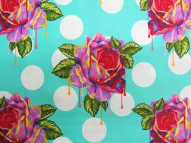 Tula Pink Curiouser And Curiouser- Painted Roses- Wonder #161