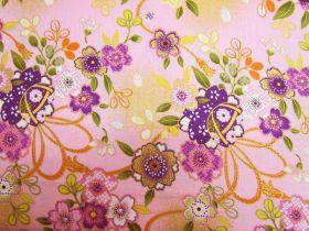 Japanese Ribbon & Floral Bouquet- Pink