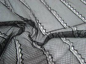 Delicate Wave Lines Lace- Black