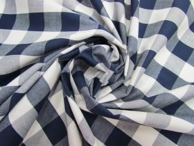 25mm Gingham Cotton- Navy #5558