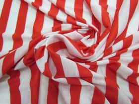 Basics Stripe Soft Jersey- Red / White #1901