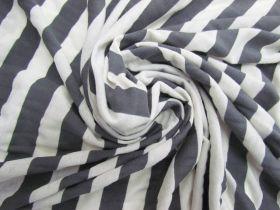 Soft Feel Cotton Blend Jersey- Grey Stripe #5640
