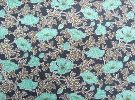 Liberty Cotton- Beatrice Poppy- Light Teal- The Winterbourne Collection