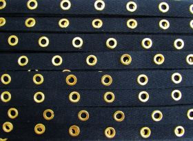 16mm Cotton Eyelet Tape- Navy/Gold #436